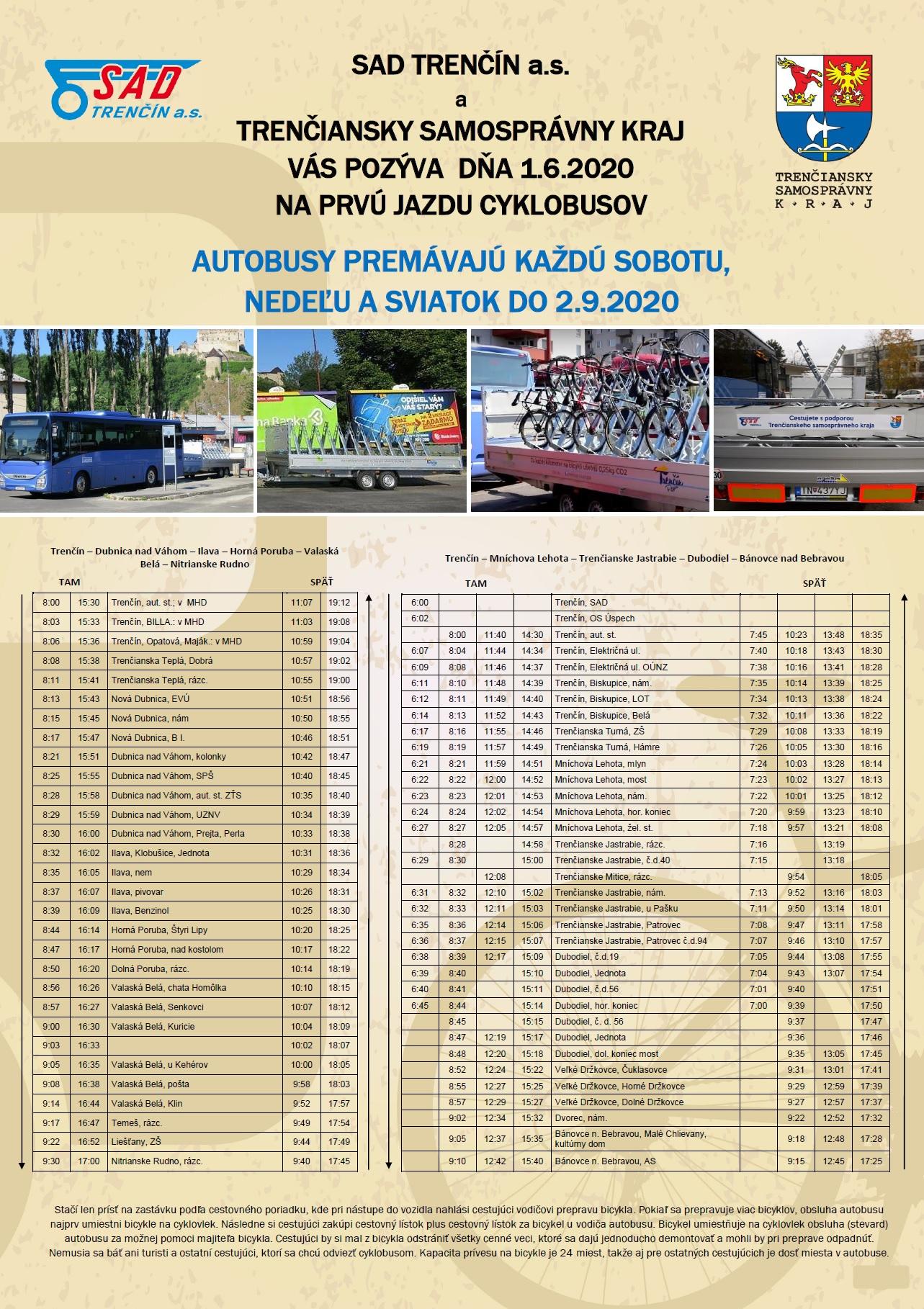 Cyklobus Trenčín cestovný poriadok 2020