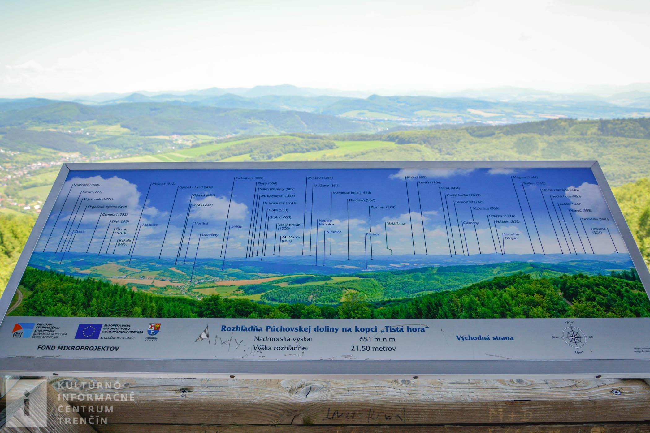 Výhľad na okolité kopce z rozhľadne Púchovskej doliny na východnej strane