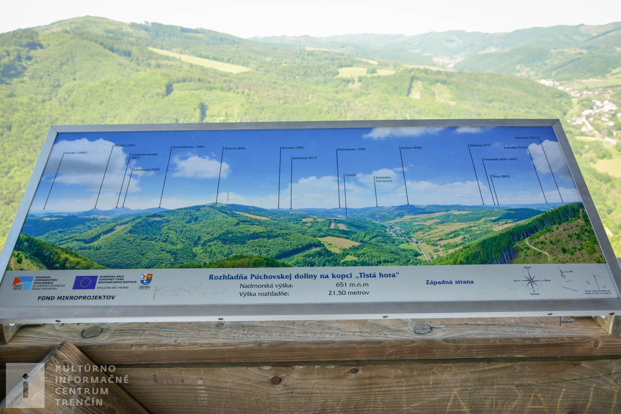 Výhľad na okolité kopce z rozhľadne Púchovskej doliny na západnej strane