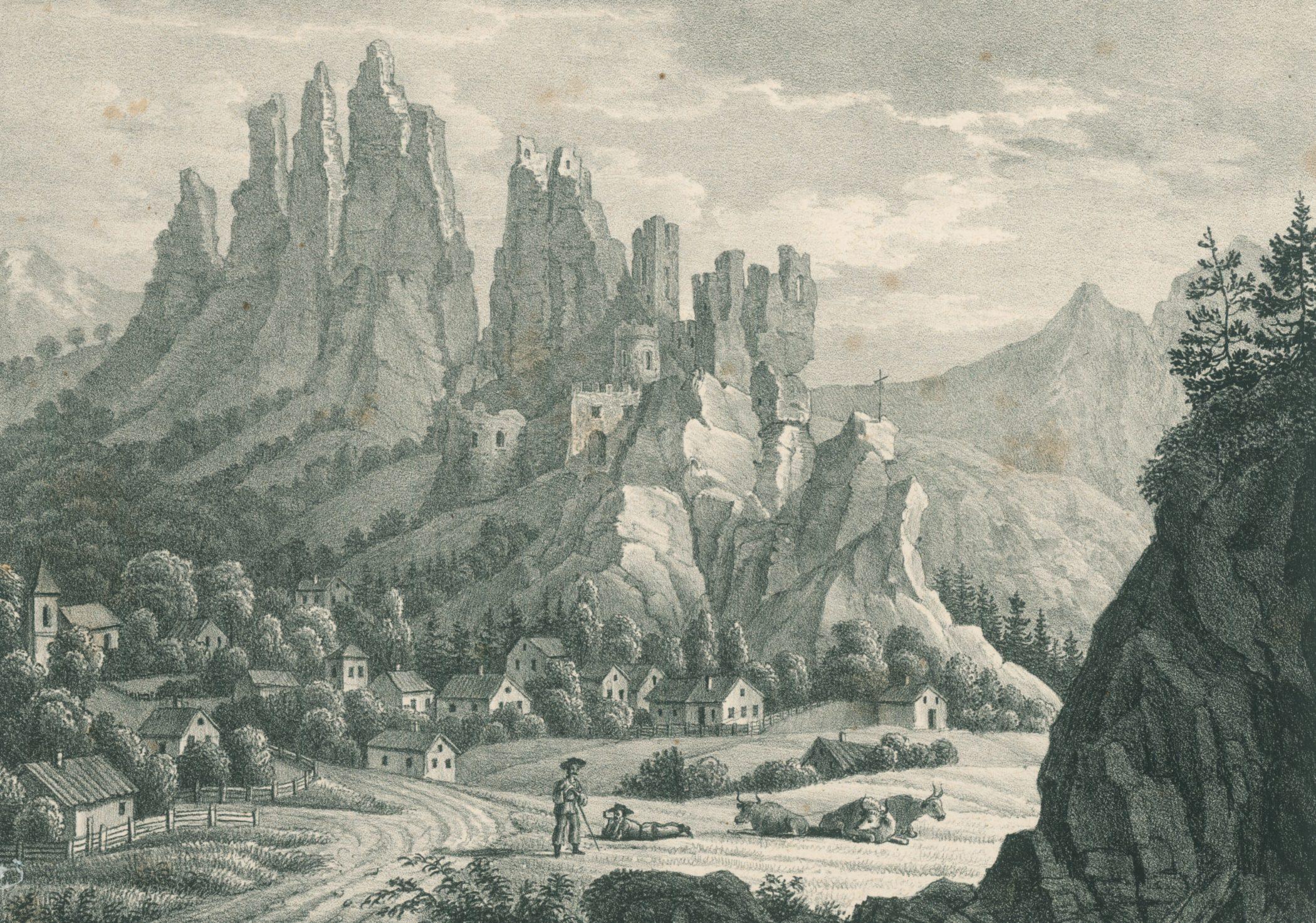 Hrad Lednica okolo roku 1830