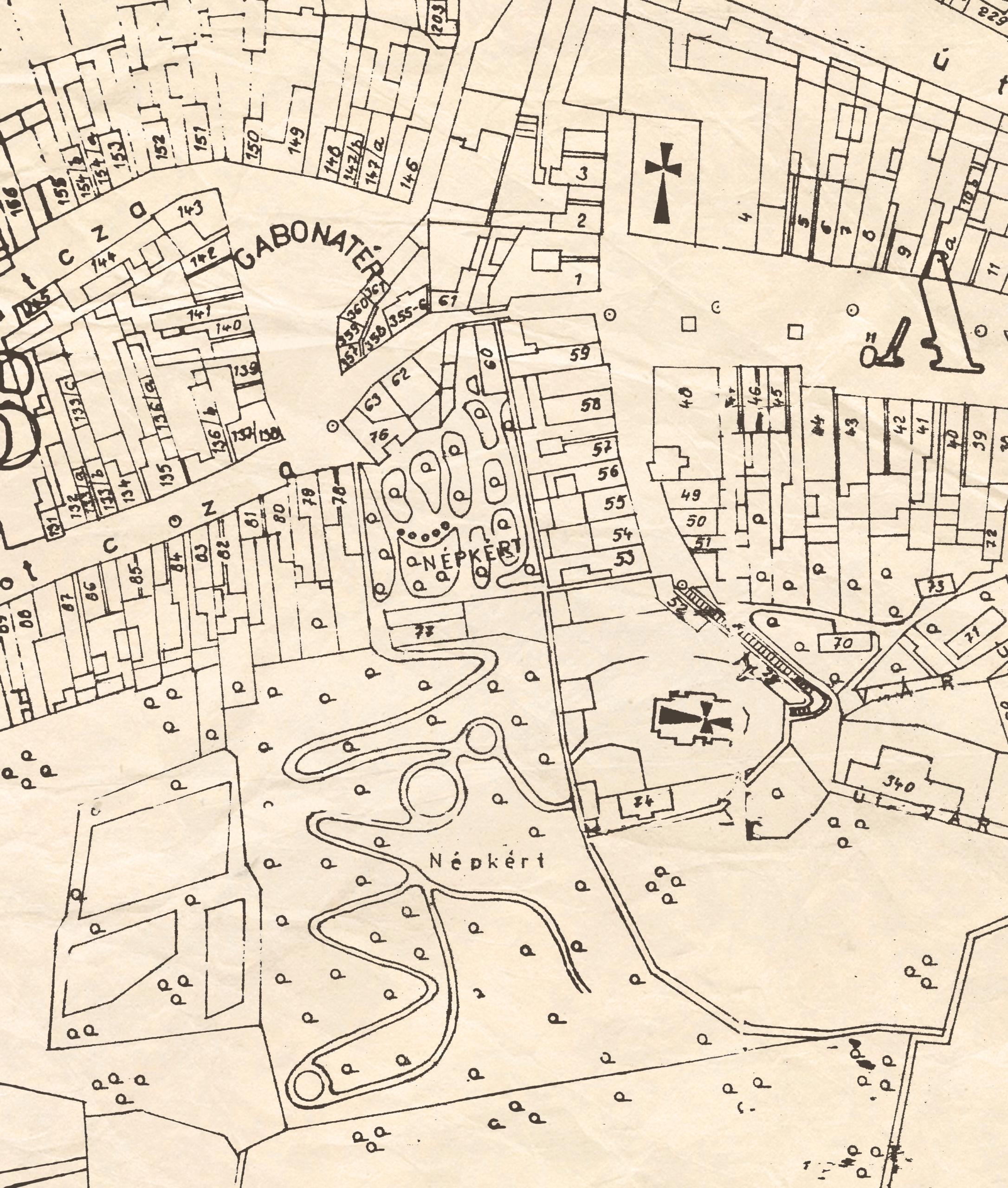 1. Cadastral map (around 1900) displaying the Ľudový hájik (Folk Grove) city garden.