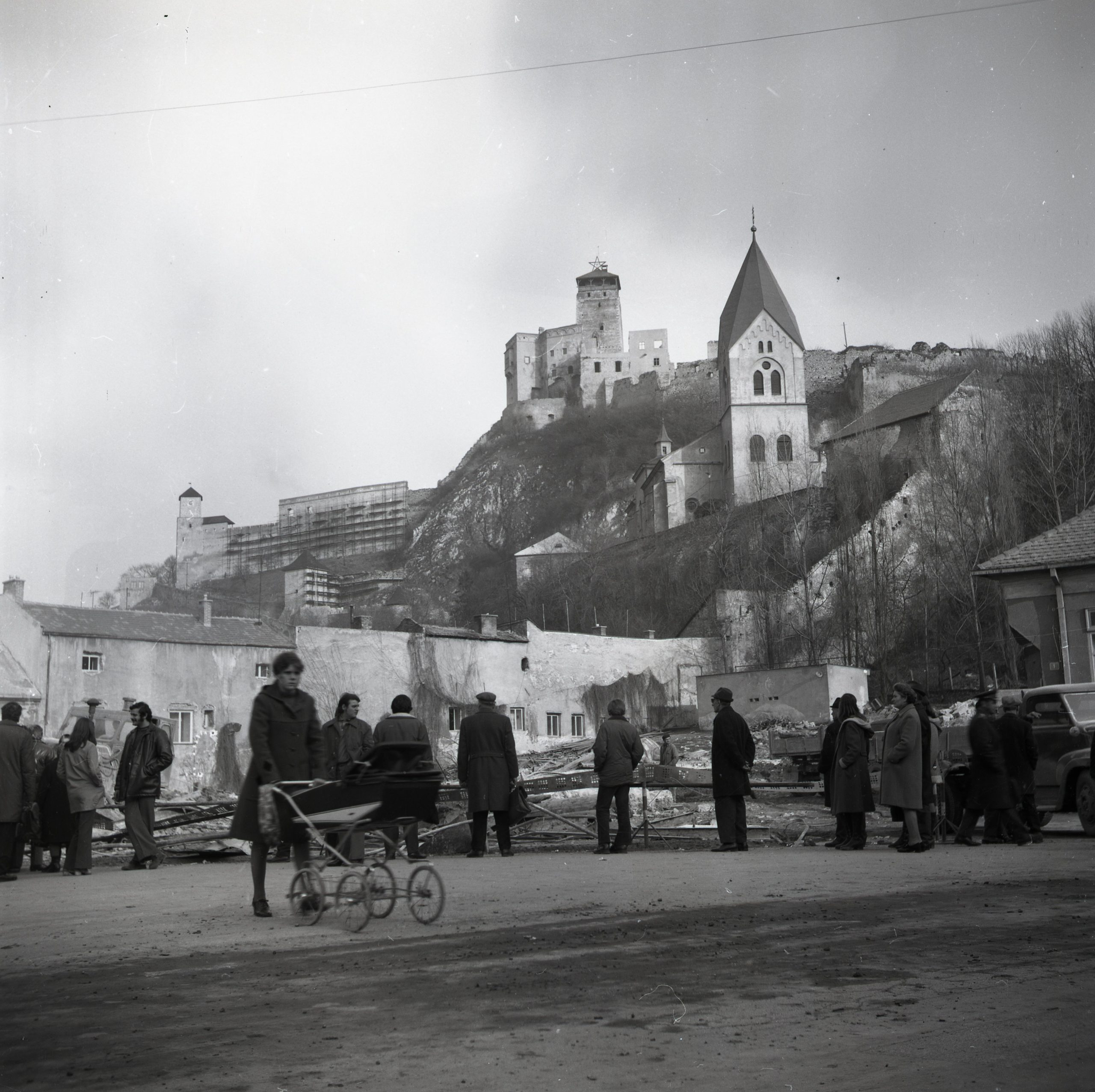 14. View of the city fortifications revealed after demolition, as seen from Štúrovo Square (1974).