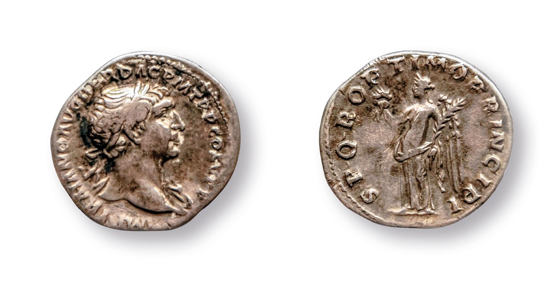 Strieborná minca cisára Trajána