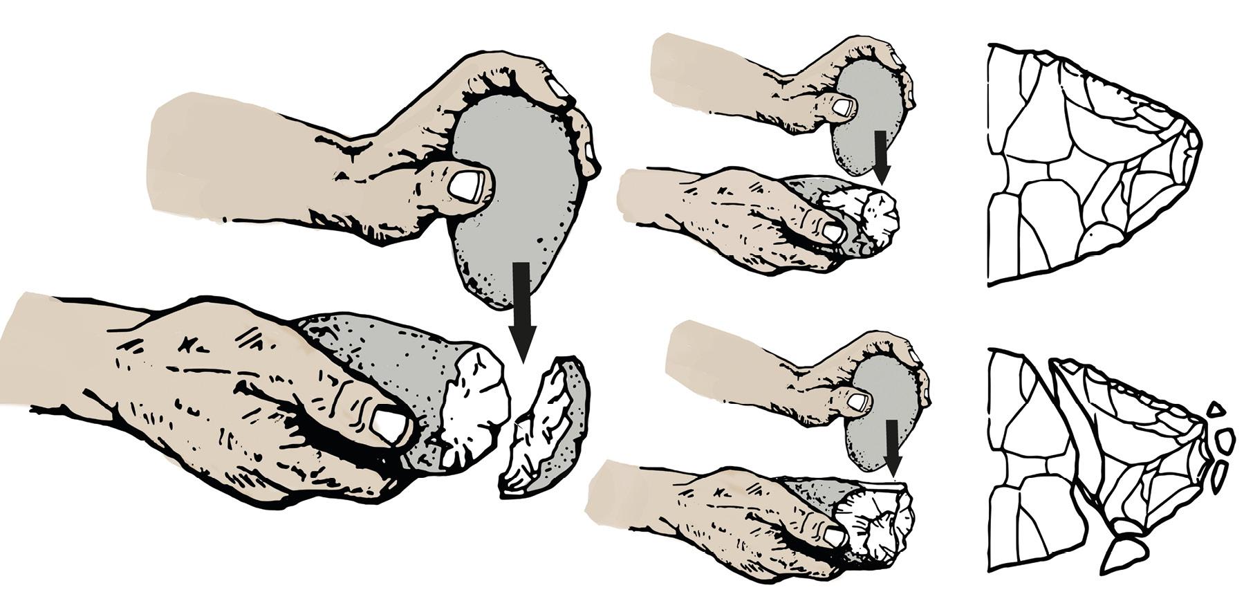 Štiepanie – technika výroby kamenných nástrojov.