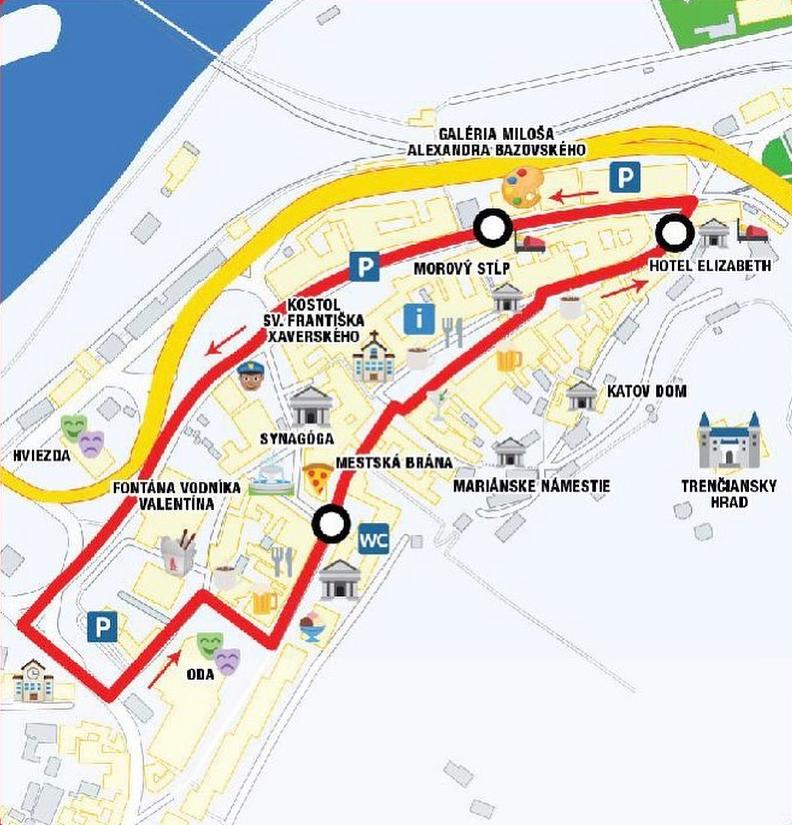 Turisticky vlacik Trencin - trasy