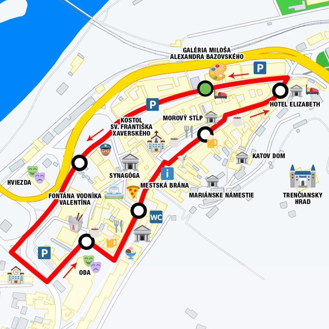 Vlak Matus Cak - mapa centrum